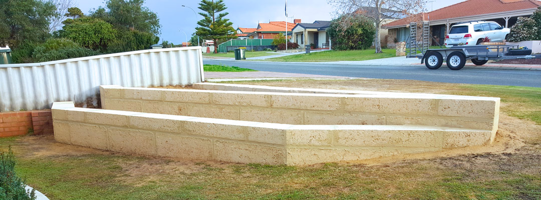New limestone Retaining Wall in the Perth Suburbs. Small two layered.