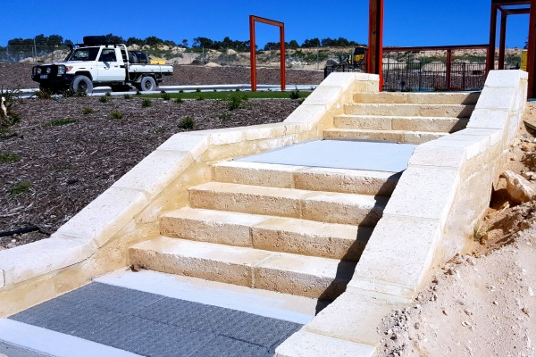 Building a Limestone Retaining Wall in Perth Western Australia. Staircase in the Perth Hills